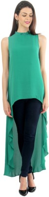 Lemon Chillo Casual Sleeveless Solid Women's Green Top