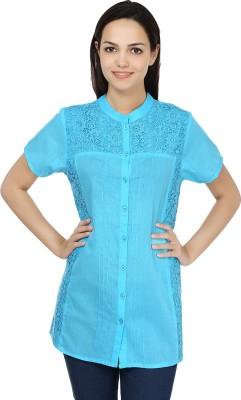 U&F Casual Short Sleeve Solid Women's Blue Top
