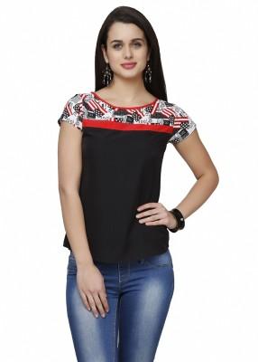 Eavan Casual Short Sleeve Solid Women's Black Top