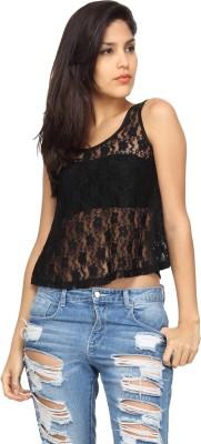 Americanlaundry Casual Sleeveless Embroidered Women's Black Top