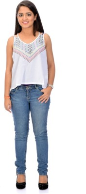 Instinct Casual, Festive Sleeveless Embroidered Women,s White Top