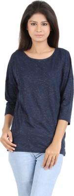 MA Casual 3/4 Sleeve Printed Women's Dark Blue Top