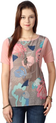 People Casual Short Sleeve Printed Women's Multicolor Top at flipkart