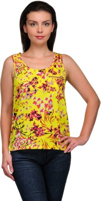 Zachi Casual Sleeveless Floral Print Women's Yellow Top