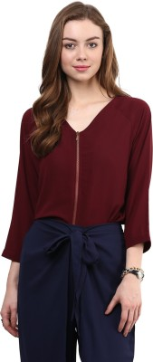 Rare Casual 3/4 Sleeve Solid Women,s Maroon Top