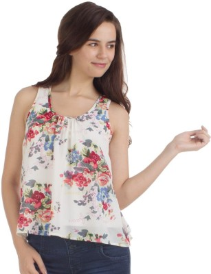 Veakupia Casual Sleeveless Printed Women's White Top at flipkart