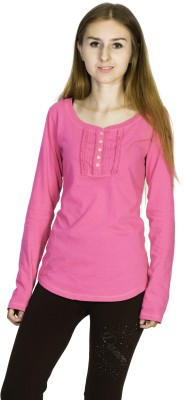 Dream of Glory Inc. Casual Full Sleeve Solid Women's Pink Top