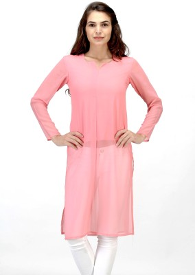 Satovira Party Full Sleeve Solid Women's Pink Top