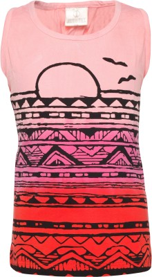 Joshua Tree Casual Sleeveless Printed Girl's Pink Top