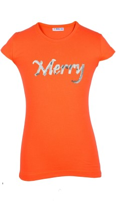 Lil Orchids Casual Cap sleeve Embroidered Girl's Orange Top