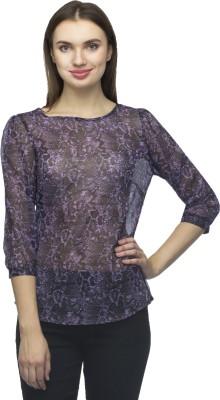 Bantry Casual 3/4 Sleeve Self Design Women's Purple Top