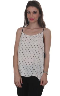 Ten on Ten Casual Sleeveless Printed Women's White, Black Top
