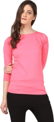 FashionExpo Casual 3/4 Sleeve Solid Women's Pink Top