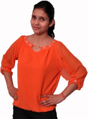 bliss creations Casual, Party 3/4 Sleeve Embellished Women's Orange Top