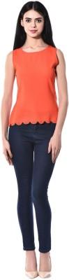 pinaki perryhills Casual Sleeveless Solid Girl's Orange Top