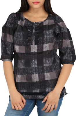 Fashion Fuse Casual 3/4 Sleeve Checkered Women's Black, Grey Top
