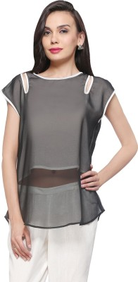 Delfe Casual Sleeveless Solid Women's Black Top