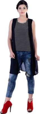 Divaz Fashion Casual, Party Sleeveless Striped Women's Black, White Top