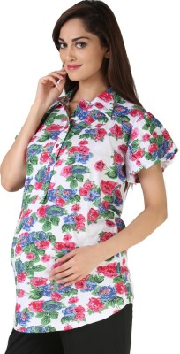 Morph Maternity Casual Short Sleeve Floral Print Women's White Top