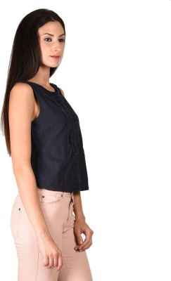 Curvy Q Casual Sleeveless Solid Women's Blue Top