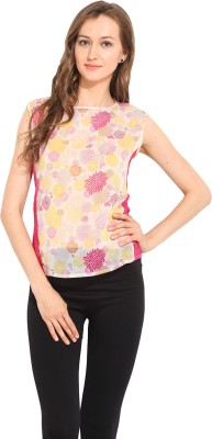 Albely Casual Sleeveless Printed Women's Multicolor Top