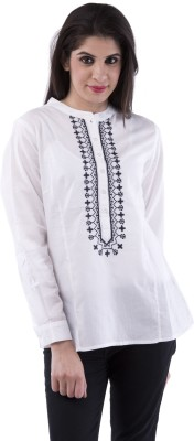 Aarr Casual Full Sleeve Printed Women's White Top