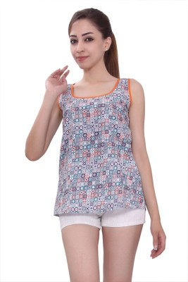 Tinge of Colors Casual, Beach Wear, Party, Lounge Wear Sleeveless Printed Women's Multicolor Top