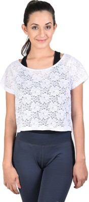 Onesport Casual Short Sleeve Self Design Women's White Top