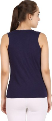 MA Casual Sleeveless Solid Women's Blue Top