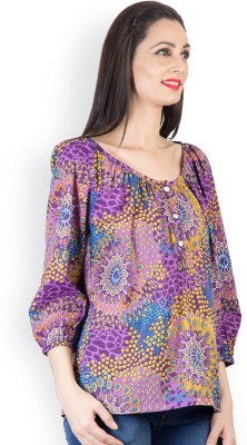 Tops and Tunics Casual 3/4 Sleeve Printed Women's Purple Top