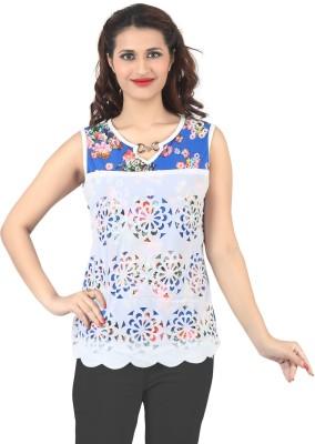 FamGlam Casual Sleeveless Self Design Women's Blue Top