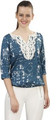 Posto Casual 3/4 Sleeve Printed Women's Blue Top