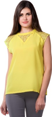 Miss Chase Party Sleeveless Solid Women's Yellow Top