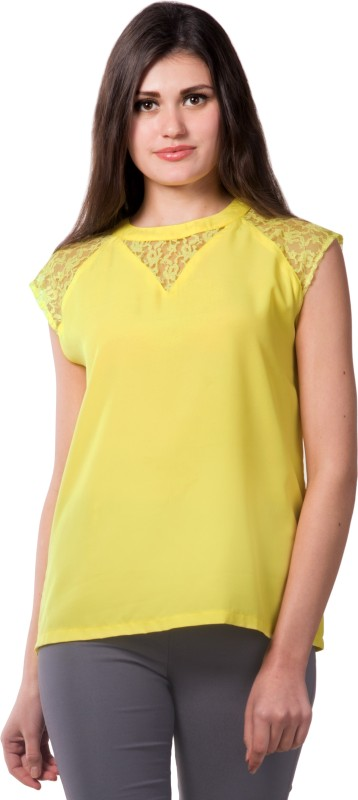 Miss Chase Party Cap Sleeve Solid Women's Yellow Top