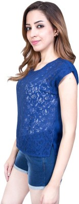 Urban Religion Casual Sleeveless Printed Women's Blue Top