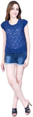Urban Religion Casual, Festive, Party, Wedding Short Sleeve Self Design Women's Blue Top