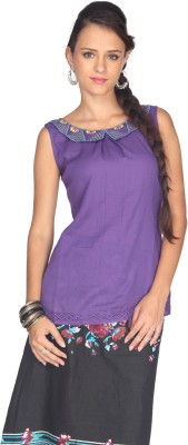 Max Casual Sleeveless Solid Women's Purple Top