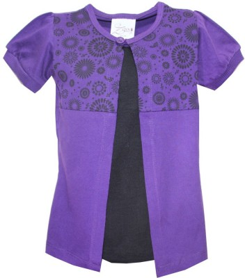 Kidsmasthi Casual Puff Sleeve Solid Girl's Purple Top