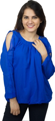 Kaaf Fashion Party, Casual Full Sleeve Solid Women's Blue Top