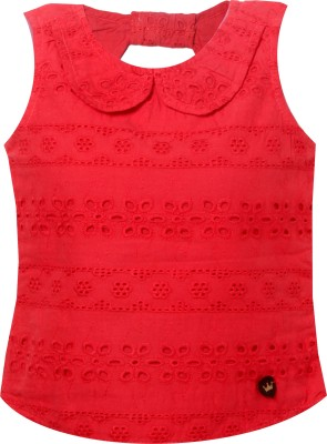 VITAMINS Casual Sleeveless Embellished Baby Girl's Red Top