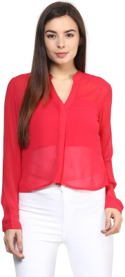 Rare Casual Full Sleeve Solid Women,s Red Top