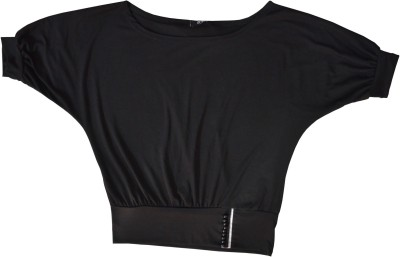 Symbol Couture Casual, Beach Wear, Lounge Wear 3/4 Sleeve Solid Women's Black Top