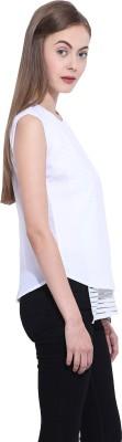 Leo Sansini Casual Short Sleeve Striped Women's White Top