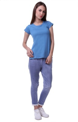 Vogue Centric Casual Cap sleeve Solid Women's Blue Top