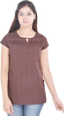 Abhiprai Casual Short Sleeve Solid Women's Brown Top