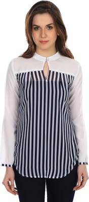 Colors Couture Casual Full Sleeve Printed Women's White Top