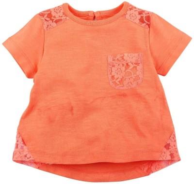 Babyoye Casual Short Sleeve Solid Girl's Orange Top