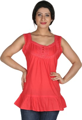 Modimania Casual Sleeveless Embroidered Women's Red Top
