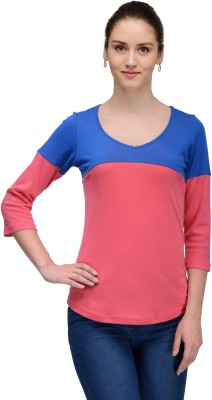 Trend18 Casual 3/4 Sleeve Striped Women's Blue Top