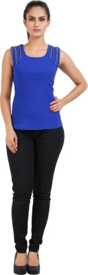 Prnas Casual Sleeveless Solid Women's Blue Top